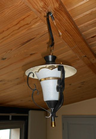 Vintage French Wrought Iron Lantern / Ceiling Light / Hanging Light photo