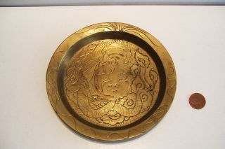 1940 Asian Oriental Chinese Brass Candy Nut Mint Dish - Serpent - 5 5/8