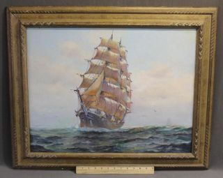 Vintage New Bedford H.  Silva Fernades Clipper Ship Maritime Oil Painting Nr photo