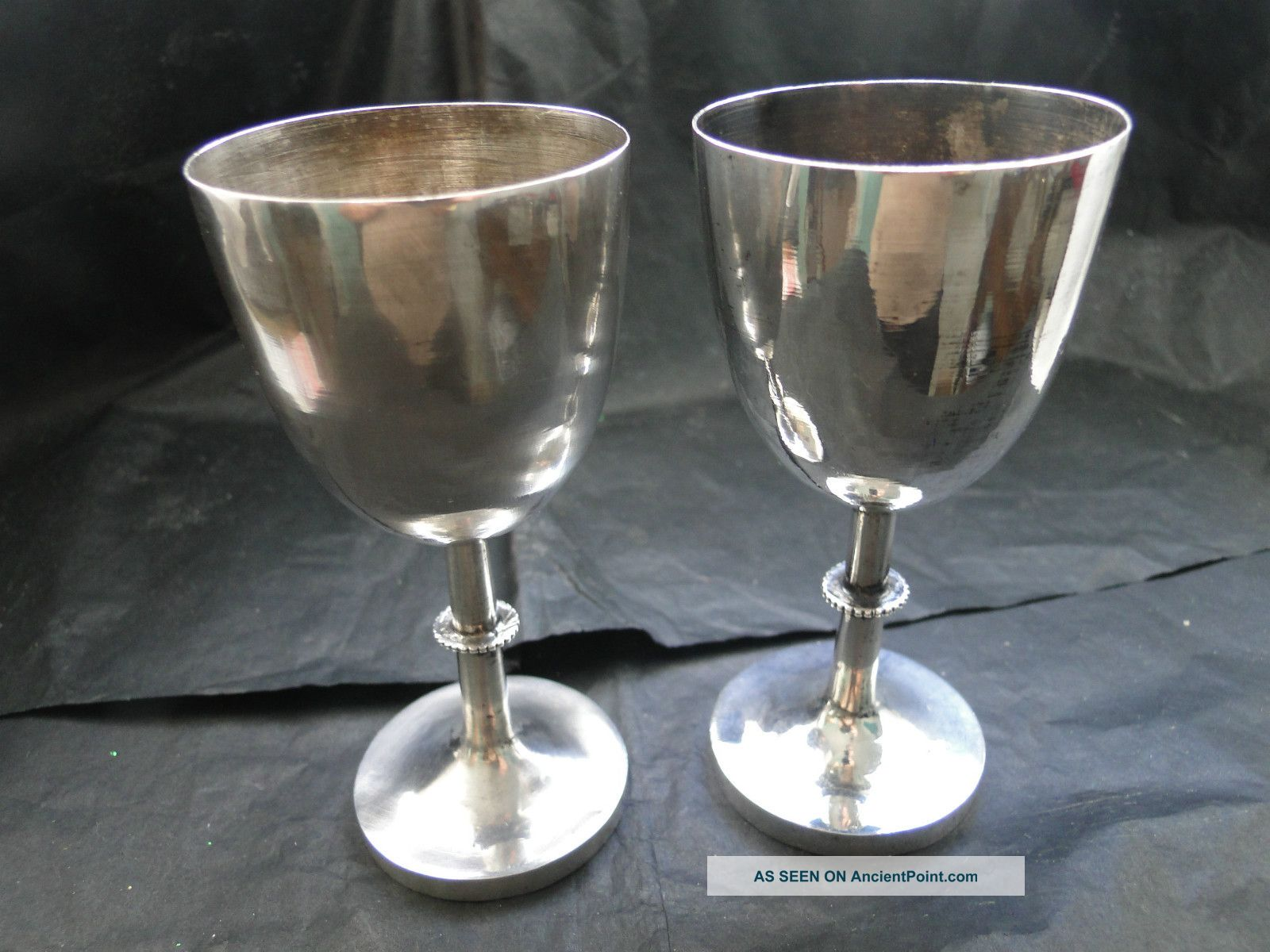 Chinese Pair Of Small Goblets Sterling Silver C.  1890 Cups & Goblets photo