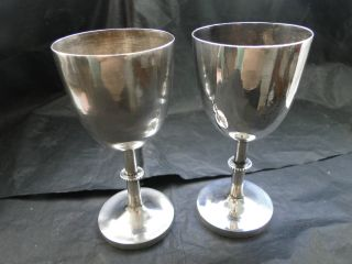 Chinese Pair Of Small Goblets Sterling Silver C.  1890 photo