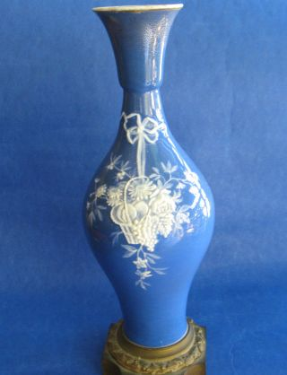 French Probably Limoge Antique Pate Sur Pate Vase Gilded Prepared For Electric photo