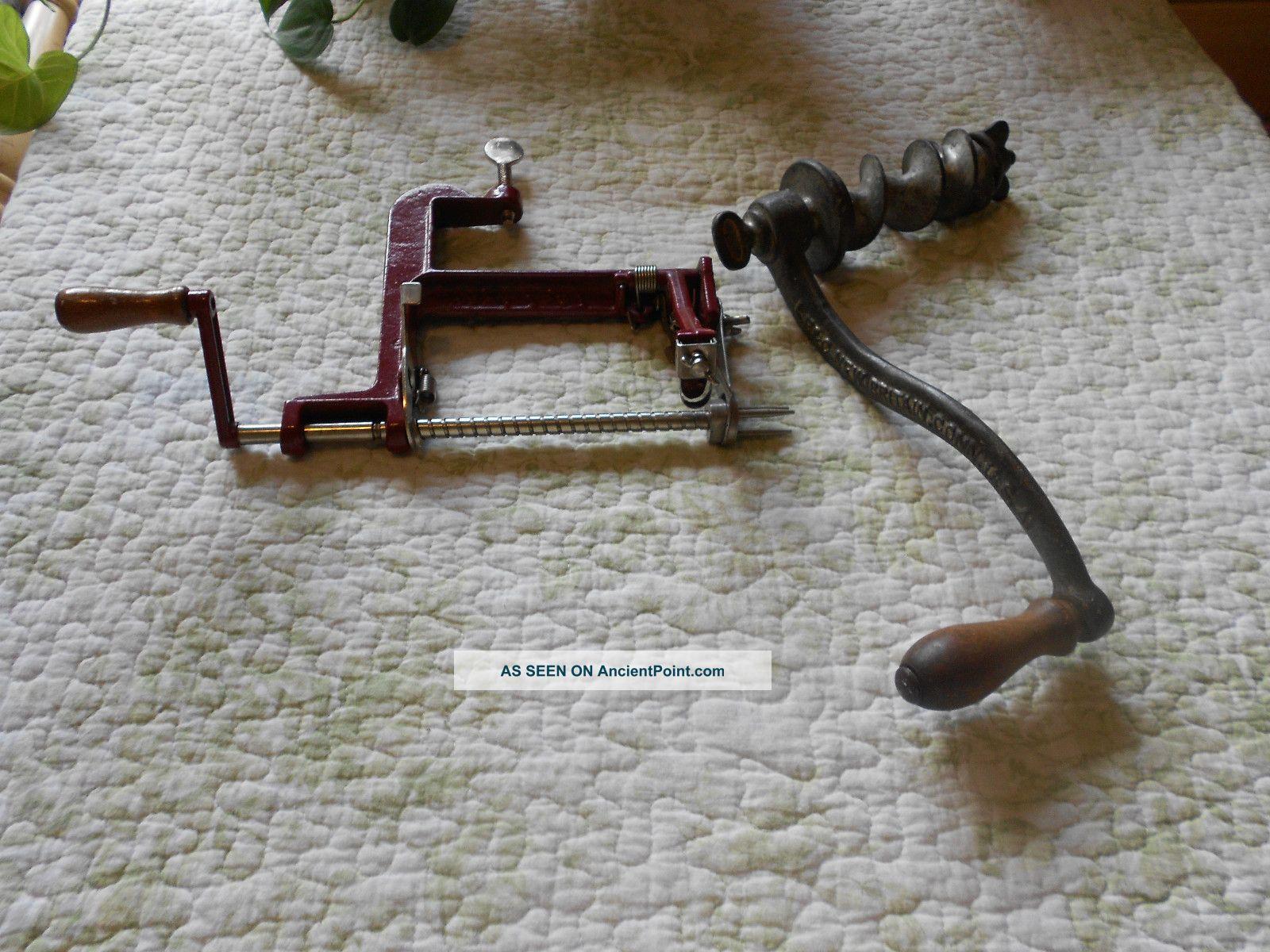 Vintage/antique L.  F.  &c.  Crank For Meat Grinder And Back To Basics Apple Peeler Meat Grinders photo