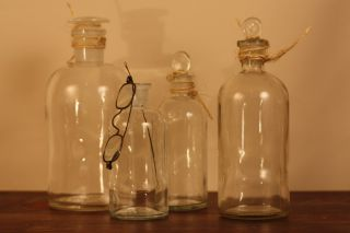 Vintage Apothecary Jars Of 4 photo