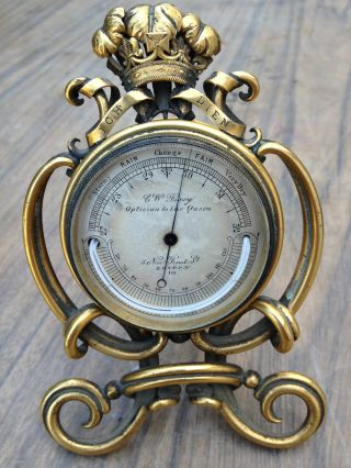 Charles W Dixey Pocket Barometer 1860 Prince Of Wales Brass Watch Stand photo