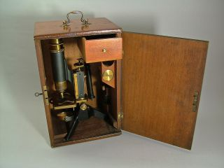 A Fine Mahogany Cased Victorian Microscope,  C.  1885. photo