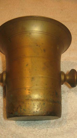 Antique Solid Brass Vintage Mortar Heirloom photo