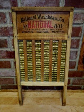 Antique National Washboard 801 Brass King Wood Primitive photo