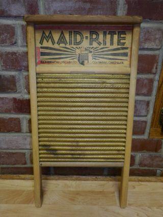 Antique Maid Rite Columbus Brass Washboard Primitive Wood photo