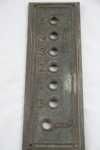 Cast Bronze Elevator Plate,  Early 1900