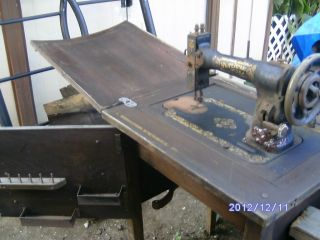 Antique White Rotary Sewing Machine And Cabinet, photo