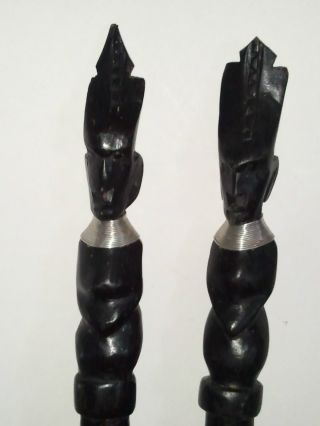 Two Antique African Hand Carved Ebony Black Wood Decorative Tribal Swords Spears photo