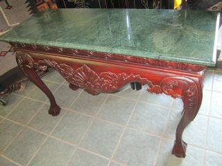 Antique Dark Mahogany And Green Marble Foyer Console Hallway Couch Table photo