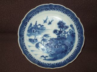 Pretty 18th C Chinese Export Qianlong Blue White Porcelain Saucer Plate Vase photo
