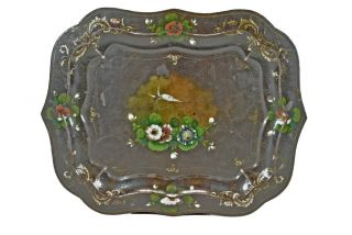 Vintage Toleware / Tole/ Serving Tray,  Hand Painted,  Dutch. photo