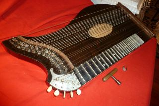 Early Antique Zither Autoharp String Instrument W/ Wooden Case - Excellent photo