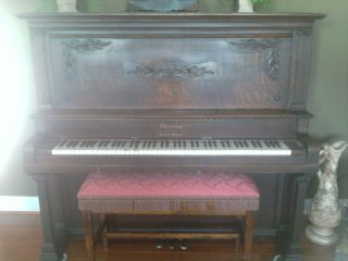 Antique Grand Cabinet Piano Sterling Concert Grand Made In Derby,  Conn Tiger Oak photo