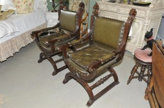 Renaissance Arm Chairs Lions Heads All Leather photo