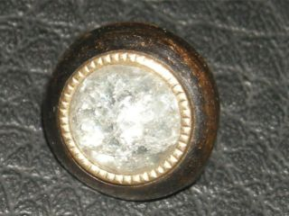 Small Antique Crackle Glass Inset Brass Metal Jewel Button 3 Days Only 7/16