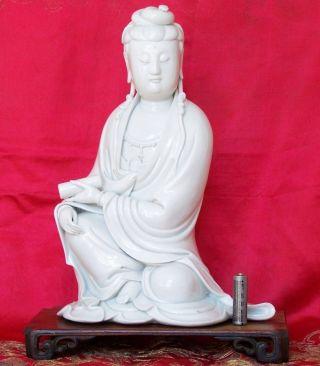 Rare Large 18th - 19th C.  Chinese Blanc - De - Chine Guanyin Figure Signed Pu Ji Yu Ren photo