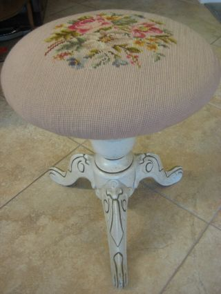 Old Vintage Cross Stitch Wooden Piano Stool W/3 Metal Legs - Painted White,  18