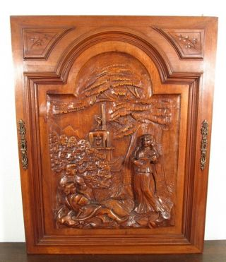 Large French Antique Deep Carved Architectural Panel Door Solid Walnut Wood photo