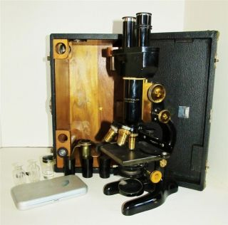 Bausch & Lomb Microscope,  Case,  Extras Patent Jan 5,  1915; Mech Stage Adj Instru photo