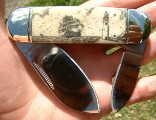 American Folk Art,  Scrimshaw Ship,  Lighthouse,  Bone Handle Folding Knife/knives photo