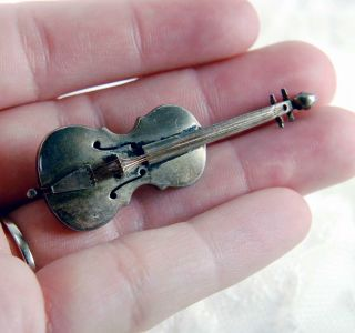 Rare Antique Sterling Silver Violin Pin Highly Detailed Copper Strings Pre - 1948 photo