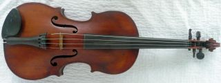 Antique Old Early Violin Flame One Piece Back Patina Full Size 4/4 Nr photo