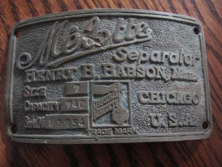 Vintage Melotte Brass Cream Separator Name Plate Sign Badge photo