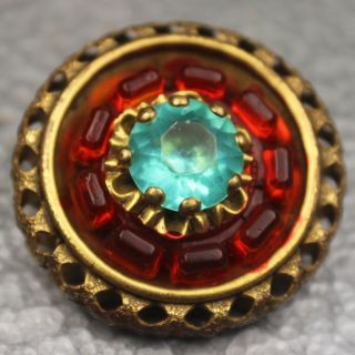 Antique Brass Jewel Button Aqua And Orange Stones Fancy Openwork Border photo