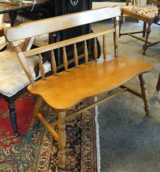 Vintage St Johns Inc Maple Bench American Cadillac Mich Wide Chair Backrest Wood photo