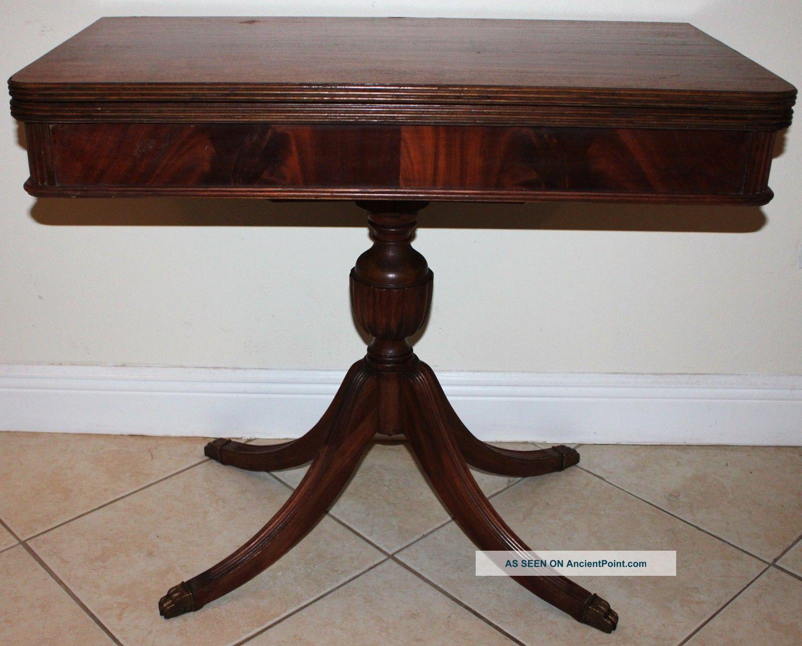 Vintage Mahogany Game Table Duncan Phyfe Base Pedastal Claw Foot Legs Lgw Dining Chairs