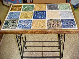 Tile Top Table With 15 Different Tileart Pottery Tiles - Iron Base photo