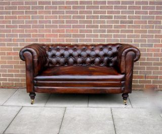 Antique 19thc Leather Chesterfield Sofa Drop Arm Hand - Full Tacked Restoration photo