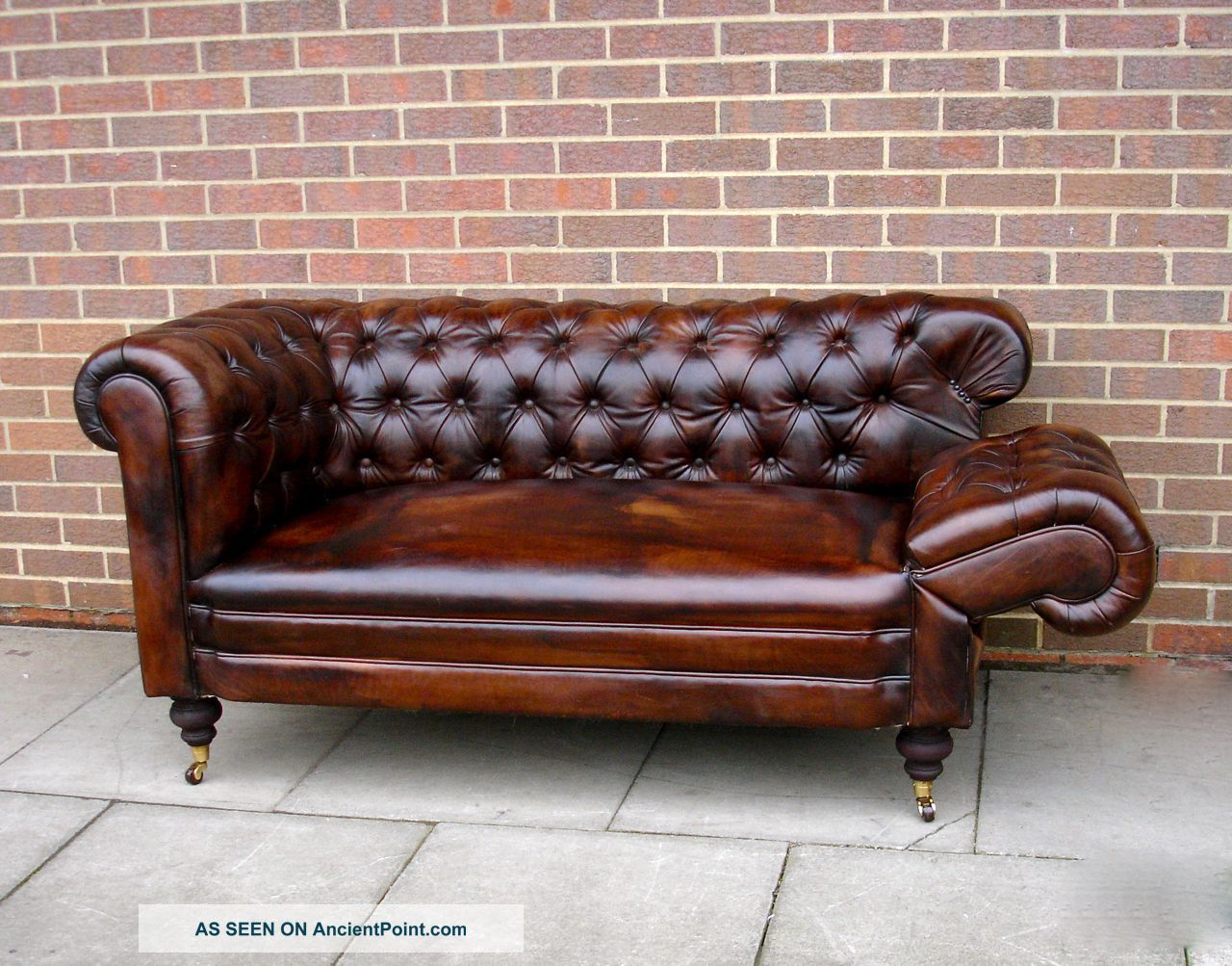 Antique 19thc Leather Chesterfield Sofa Drop Arm Hand - Full Tacked  Restoration - Antique 19thc Leather Chesterfield Sofa Drop Arm Hand - Full
