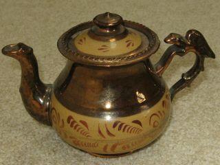 Antique Copper Lustreware Teapot W/lid - Circa 1850 - Unusual Bird (eagle) Handle photo