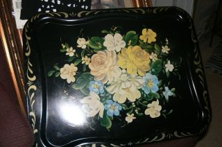 Vintage Hand Painted Black Yellow Roses Blue Tole Metal Rectangle Largetray photo