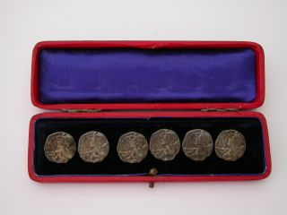 Best Price Set 6 Art Nouveau Sterling Silver Buttons Rare Hallmarked 1900 Mucha photo