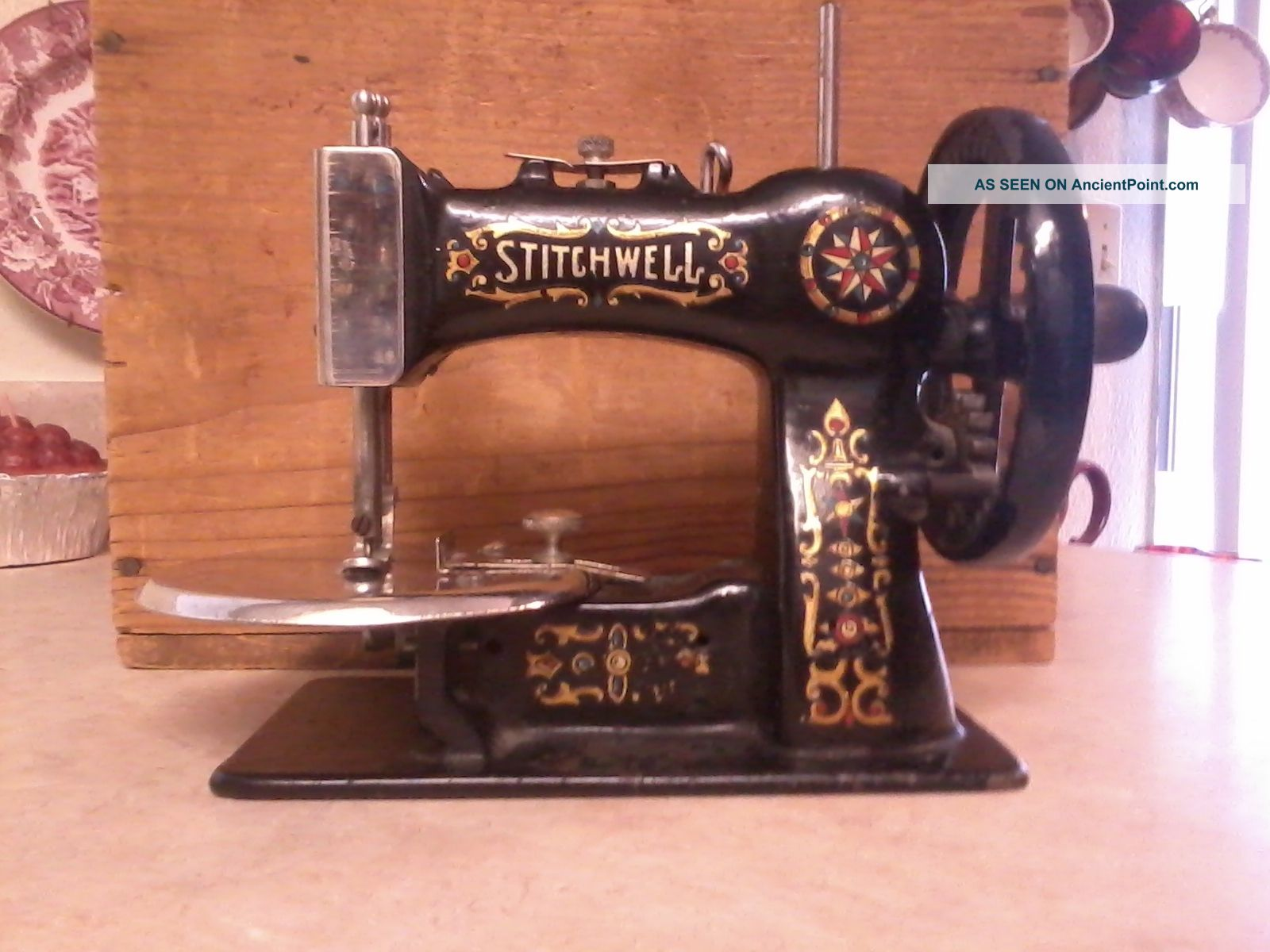Stitchwell Antique Child ' S Sewing Machine - Wooden Box,  Clamp,  Spool Works Sewing Machines photo