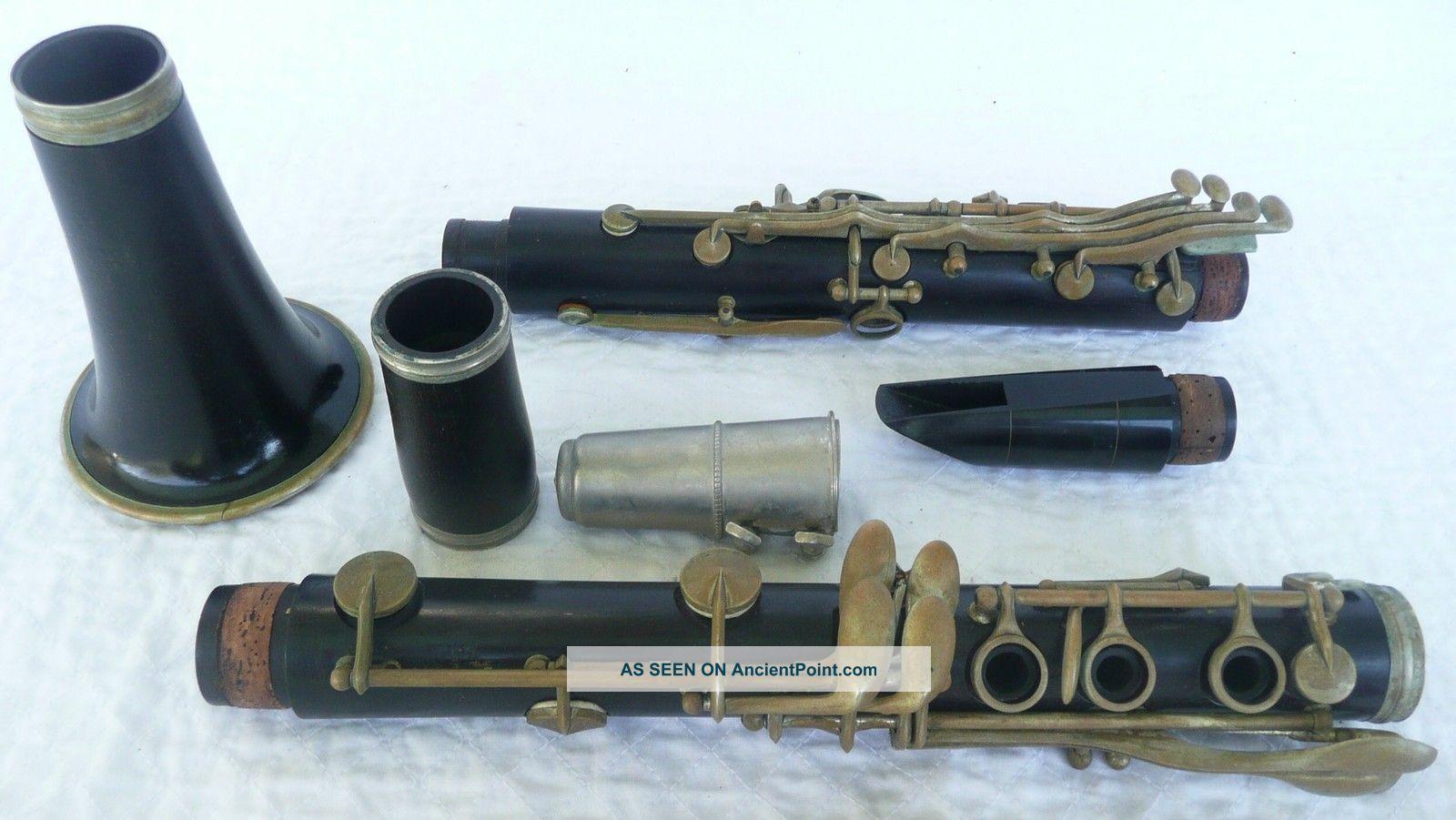Antique Old Buffet Crampon & Cie A Paris Wooden Clarinet Case 10 Reeds Vandoren Wind photo