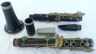 Antique Old Buffet Crampon & Cie A Paris Wooden Clarinet Case 10 Reeds Vandoren photo