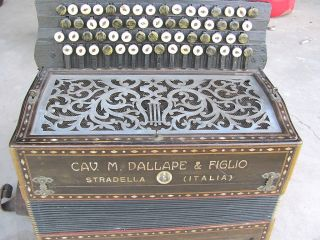 Antique 1900 Button Accordion Famous Cav.  M.  Dallape & Figlio Stradella Italy photo