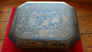 Antique Chinese 19 Th Gold Lacquer Game Box 100 Carved Mother Pearl Gaming Chips photo