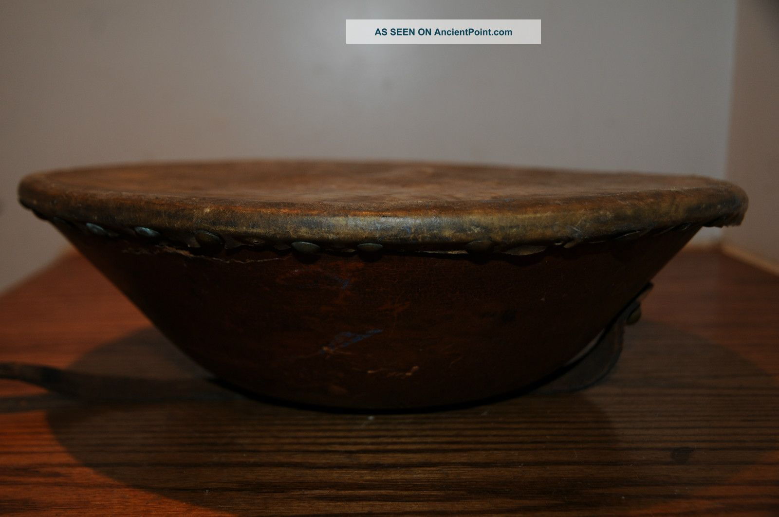 Antique 1800 ' S Hand Drum Made In U.  S.  A.  Fibrotta Drum Leather Skin Percussion Percussion photo