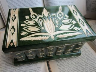 Vintage Modern Wood Puzzle Box W/ Secret Compartment Drawers White photo