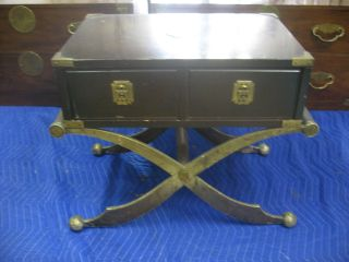 Vintage Mcm Asian Bachelors Campaign Table Chest X Base Hollywood Regency photo