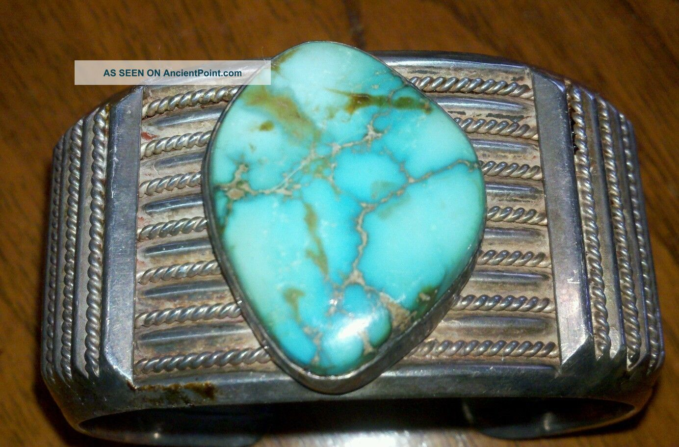 Vintage Mens Hndcrftd Southwestern Sterling Slvr Turquoise Cuff Brclt.  Make Offer Native American photo