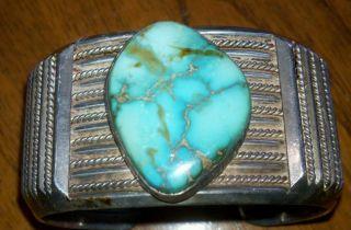 Vintage Mens Hndcrftd Southwestern Sterling Slvr Turquoise Cuff Brclt.  Make Offer photo